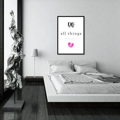 Plakat z napisem do sypialni
