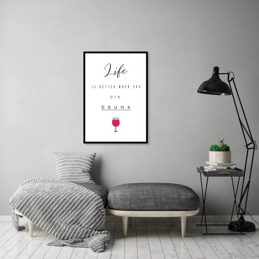 Plakat napis i kieliszek do wina