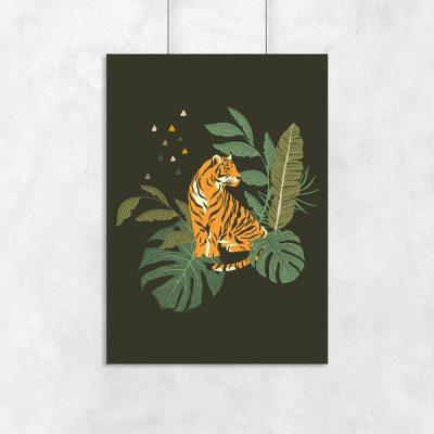 Plakat tropikalne liście i tygrys