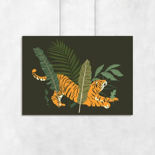 Plakat tropikalny z tygrysem do salonu