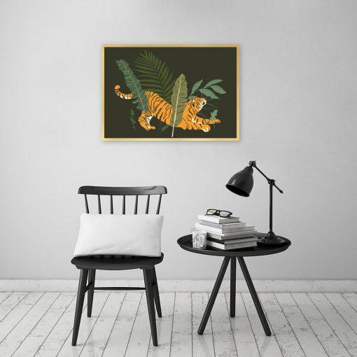 Plakat tygrys i tropikalne liście