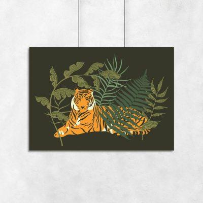 Plakat tygrys i liście