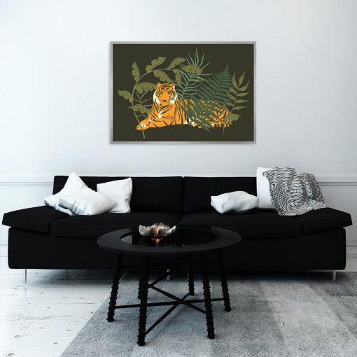 Plakat ciemnozielony z tygrysem