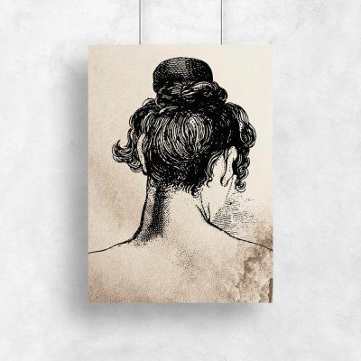 Plakat z kobietą w koku