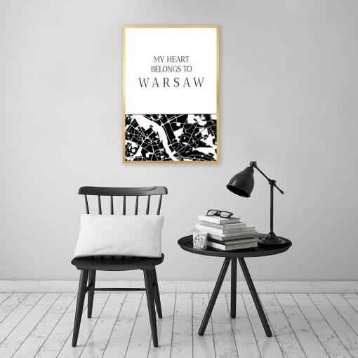 Plakat z napisem i mapą Warszawy