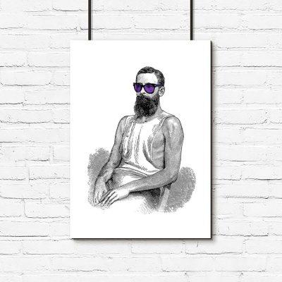 Plakat mężczyzna w fioletowych okularach