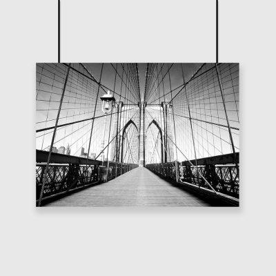 Plakat czarno-biały z mostem brooklińskim