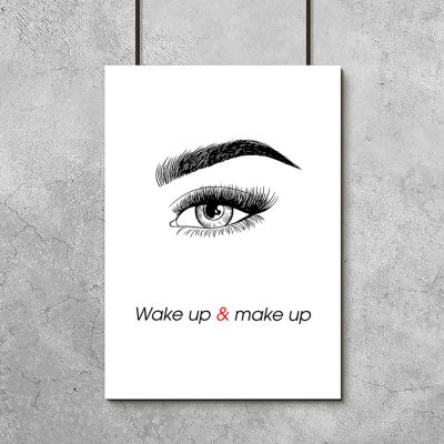 Plakat z motywem napisu i oka