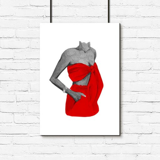 Plakat kobieta w czerwonej sukience