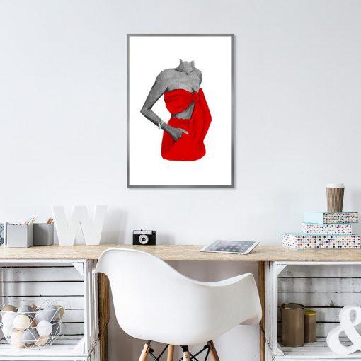 Plakat kobieta w czerwonym stroju