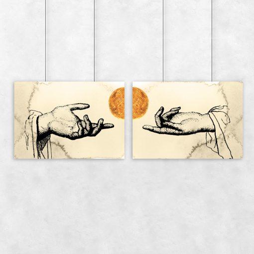 Kremowy plakat dyptyk z motywem dłoni