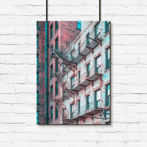 Plakat czerwono-turkusowy z budynkiem