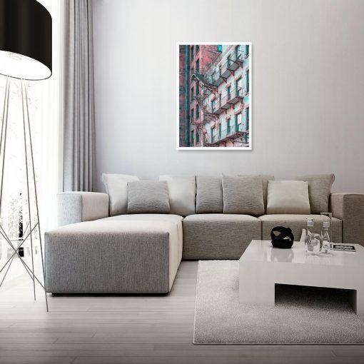 Turkusowo-czerwony plakat do salonu