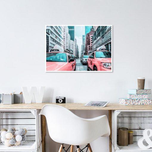 Plakat taksówki i nowojorska ulica