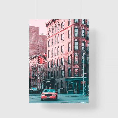 Pomarańczowy plakat z taksówką