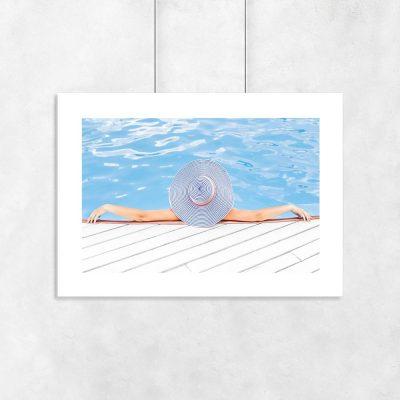 Plakat niebieski z kapeluszem