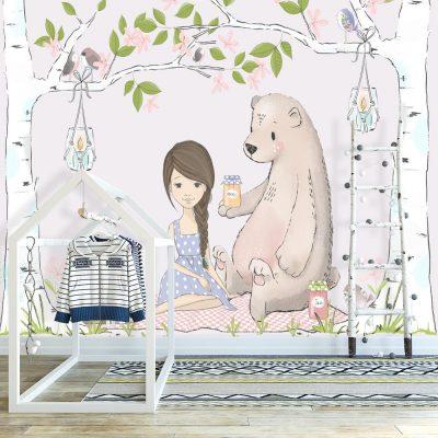 Tapeta na ścianę z misiem i dziewczynką