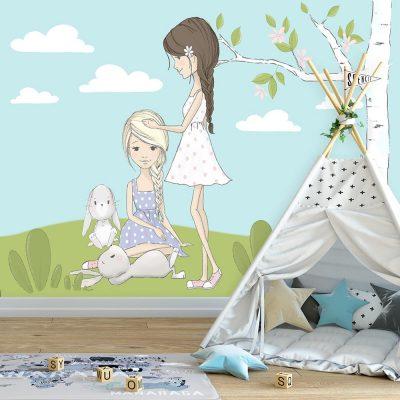 Fototapeta z króliczkami i dziewczynkami