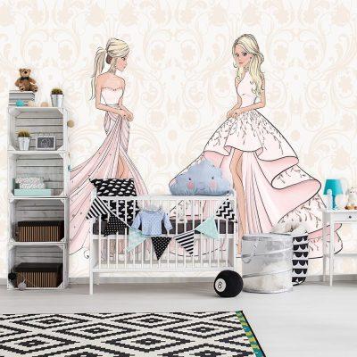 Tapeta dwie lalki na tle wzorów