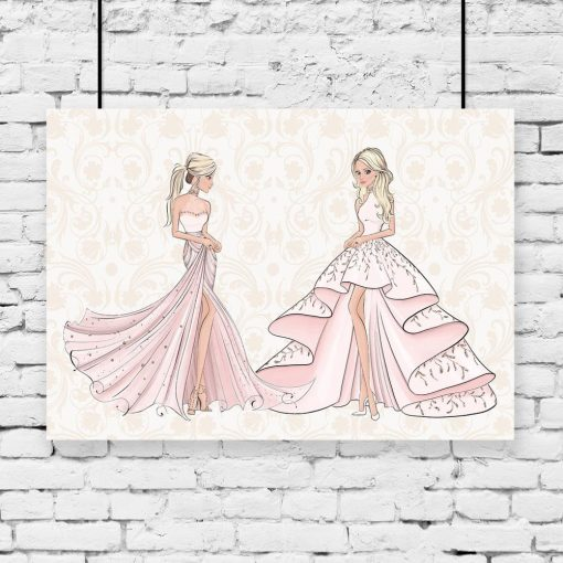 Plakat lalki w różowych sukienkach