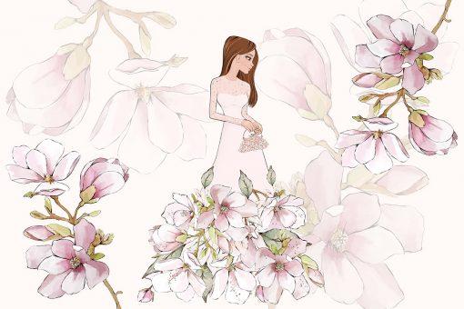 Tapeta na ścianę z motywem kwiatów magnolii