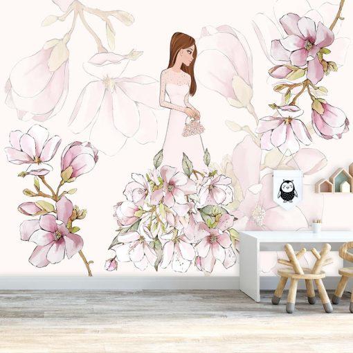 Fototapeta jasnoróżowa z motywem kwiatów magnolii