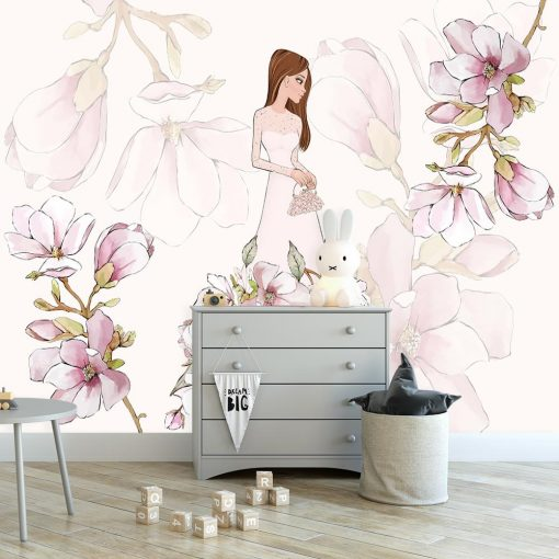 Tapeta kwiaty magnolii i lalka