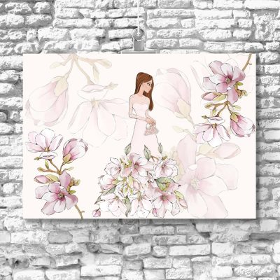 Plakat z lalką i kwiatami