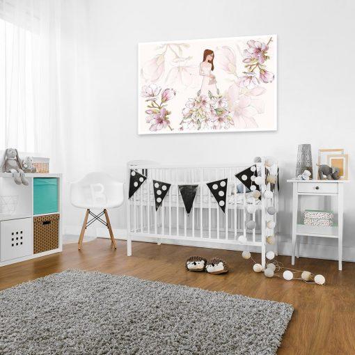 Plakat różowe magnolie i lalka