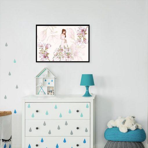 Plakat z motywem magnolii i lalki