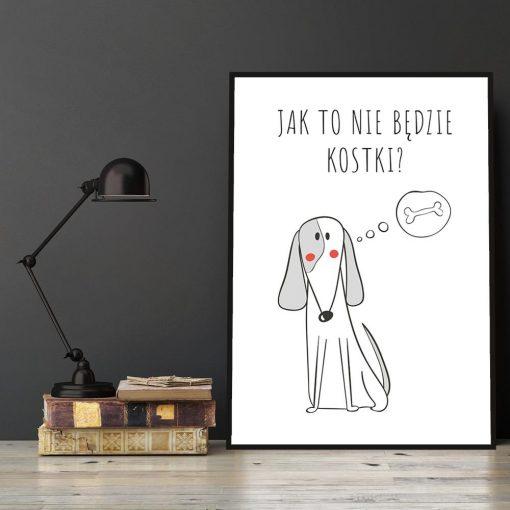 Plakat z psem i napisem