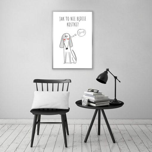 Plakat czarno-biały z psem