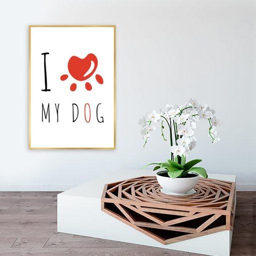 Plakat czarno-biały z motywem psa