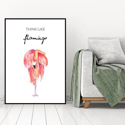 Plakat z różowym flamingiem