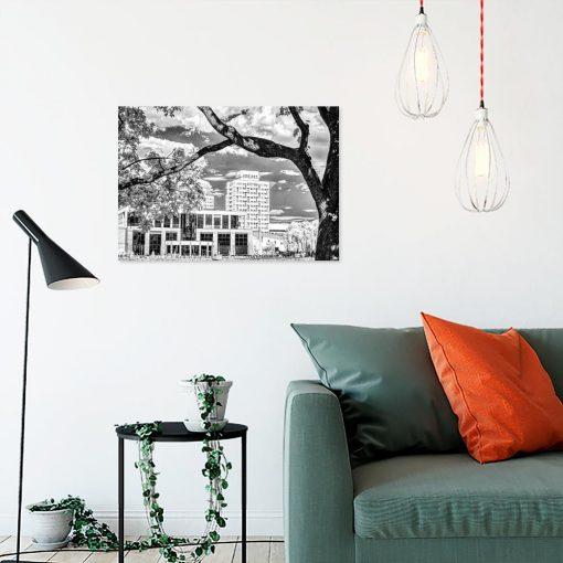 Obraz z motywem budynków i drzewa
