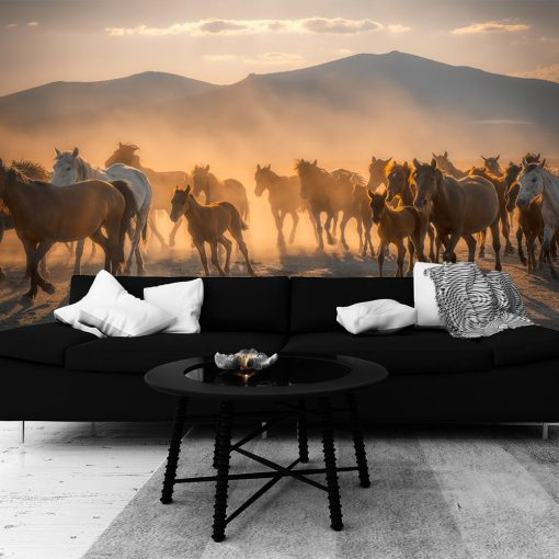 Tapeta brązowa stado koni