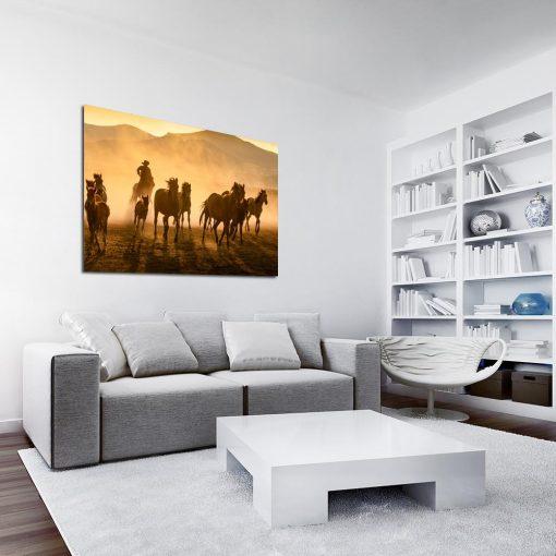 Obraz konie z kowbojem