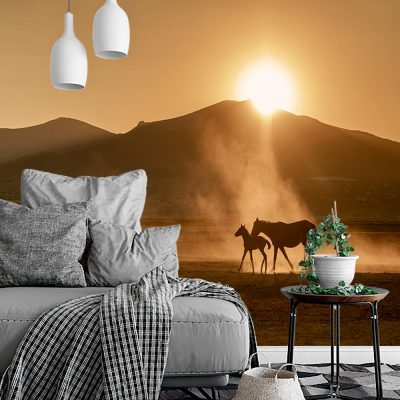 Tapeta konie w kolorze sepii