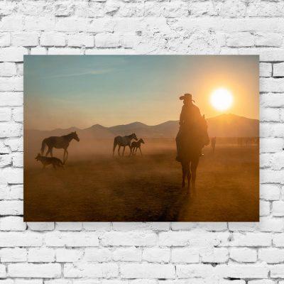 Obraz z motywem koni o zachodzie słońca