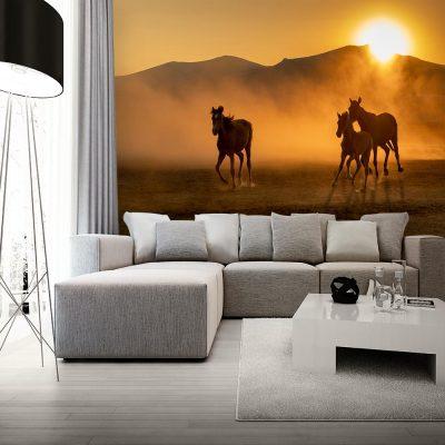 Fototapeta w kolorze sepii z końmi