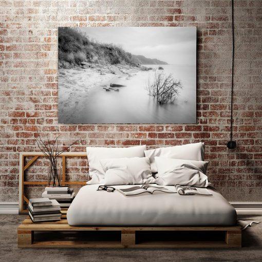 Obraz czarno-biały z plażą