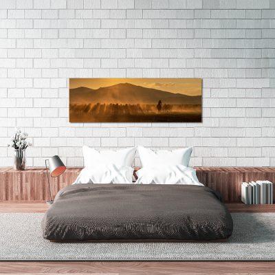 Obraz panoramiczny z motywem koni