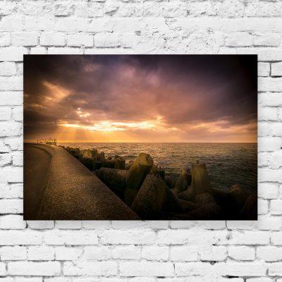 Obraz zachód słońca i morze