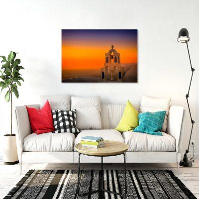 Pomarańczowy obraz z dzwonnicą