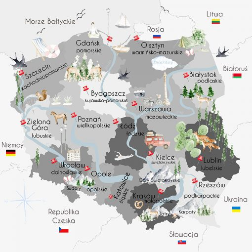 Szara fototapeta z motywem polskiej mapy