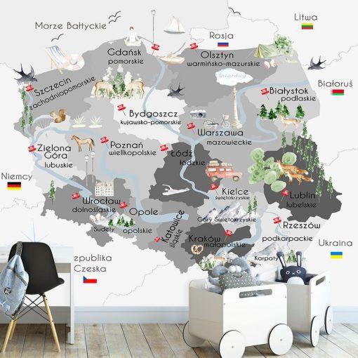 Tapeta szara z motywem mapy polski