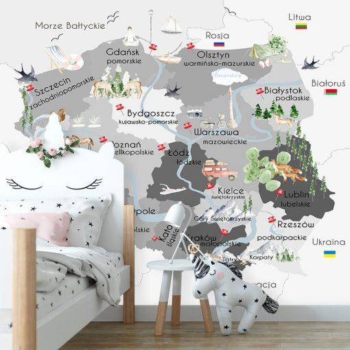 Fototapeta szara z mapą Polski