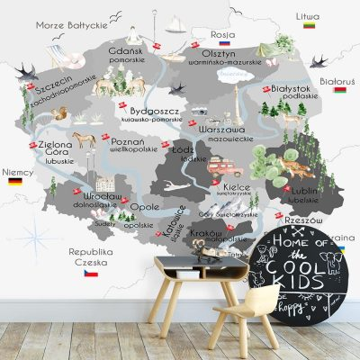 Fototapeta z motywem polskiej mapy