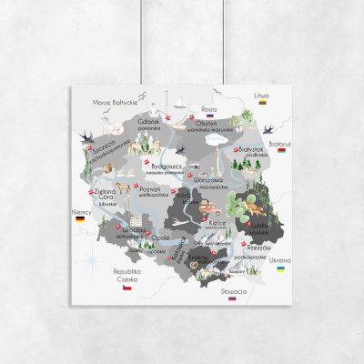 Szary plakat mapa polski