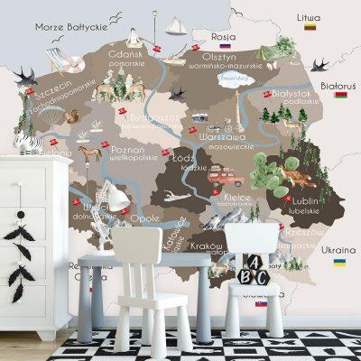 Beżowa fototapeta mapa Polski